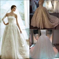 Factory direct real sample strapless made in Guangzhou China royal luxury gorgeous Elie Saab wedding dress pattern