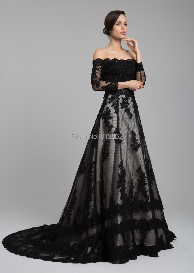 Black lace wedding dress with sleeves for Black lace wedding dresses