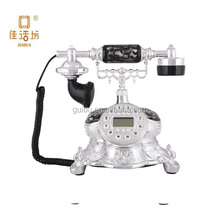 2015 black shell fish silver plated resin antique telephone for home deocr
