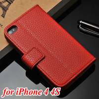 New arrival customized luxury PU leather cell phone case of full housing pouch for Iphone 4 4S