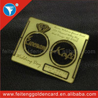 Hot selling custom different design sublimation and logo name engraved metal golden cards for wedding invitation gift 2014