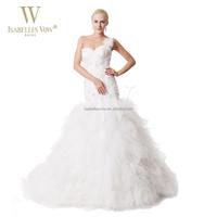 One shoulder big latest wedding gown designs mermaid tiered long train puffy wedding dress