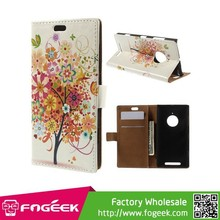 Fast Delivery Wallet Stand Magnetic PU Leather Case for Nokia Lumia 830 - Colorful Tree Flowers