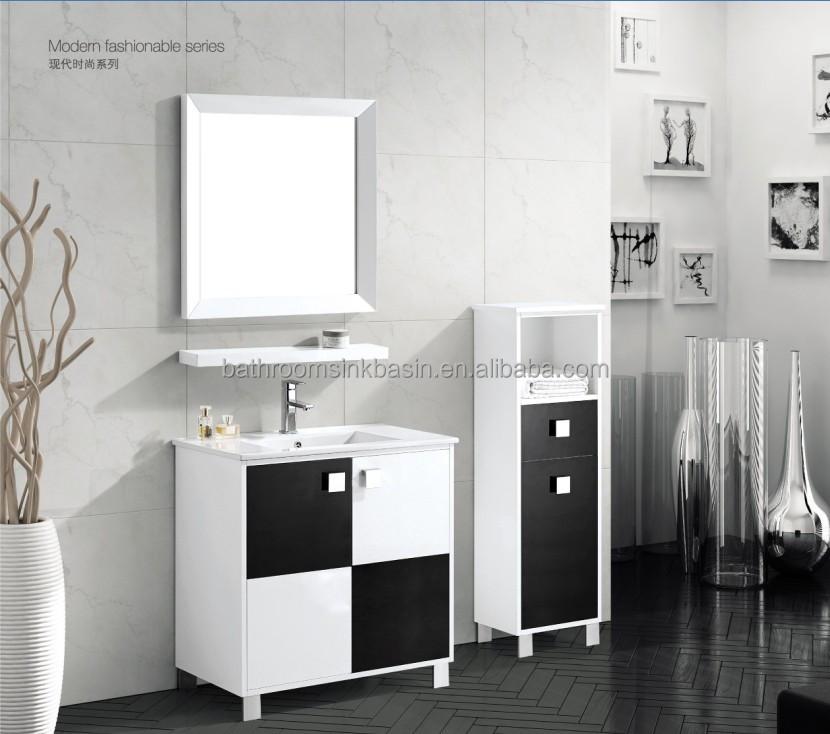 Wholesale Simple white and black PVC bathroom cabinet vanity VT2555  Alibab -> Armario De Banheiro Pvc