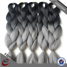 Black/Grey Ombre AD70 Braiding Hair , Two Colored Synthetic Braiding Hair