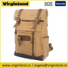 vintage 6896 práctico de color caqui de viajes roll top mochila de lona mochila de fin de semana para los hombres