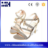 Newest European Party Wear Open Toe Leather 10CM High Heels Gold Ladies Sandals