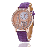 Customized logo rhinestone crystal lady watch for women