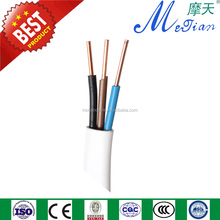 copper electric wire 3x1.5mm2 PVC insulated solid wire 3core flat electric wire 1.5mm2