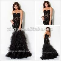 New Sweetheart Neckline Mermaid Black Transparent Floor Length Latest mermaid prom dress