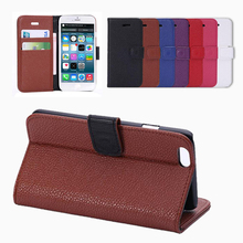 BRG-Fashion High Quality Mobile Phone Litchi Leather Wallet Case Cover for Apple iPhone 6 with 2 Card Slots and Stand Function