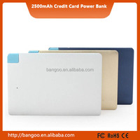 Wholesale mini power bank charger, Slim Power Banks,Ultra Thin 6.2mm 2500 mAh Credit Card Power