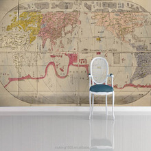 Wholesale interesting and helpful wall wallpaper world map design 3d wall panels interior mural customize