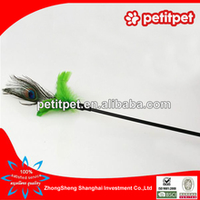 Peacock feathers plastic stick cat teaser toy