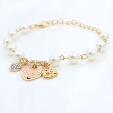 Flash heart/artificial flower/ D alphabet imitation pearl bracelet wholesale