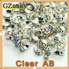 10mm CLEAR AB circle wheel silver rondelle spacer beads rhinestones for jewelry bracelet round glass beads
