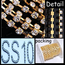 SS10 gold plating Square Cup Chain roll rhinestone chain