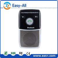 HOT sale Solar Bluetooth Handsfree Car Kit built in speaker and microphone and auto power on function