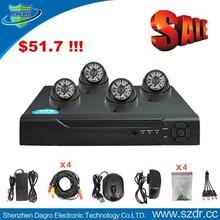Dagro 10 Anniversary Promotion Activity 4 pcs 24 IR leds Dome Style 700TVL cctv camera system dvr ir camera system made in china