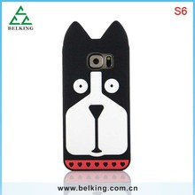 Lovely Dog Silicon Mobile Phone Back Cases For Samsung S6, For Samsung S6 Cartoon Silicon Rubber Soft Case