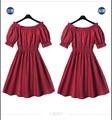 Primavera verano 2015 nuevo estilo ropa Casual cuello barco vestidos para mujer elegante