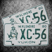 Customized license plate 1977 Yukon Home of the Klondike plate with gold miner