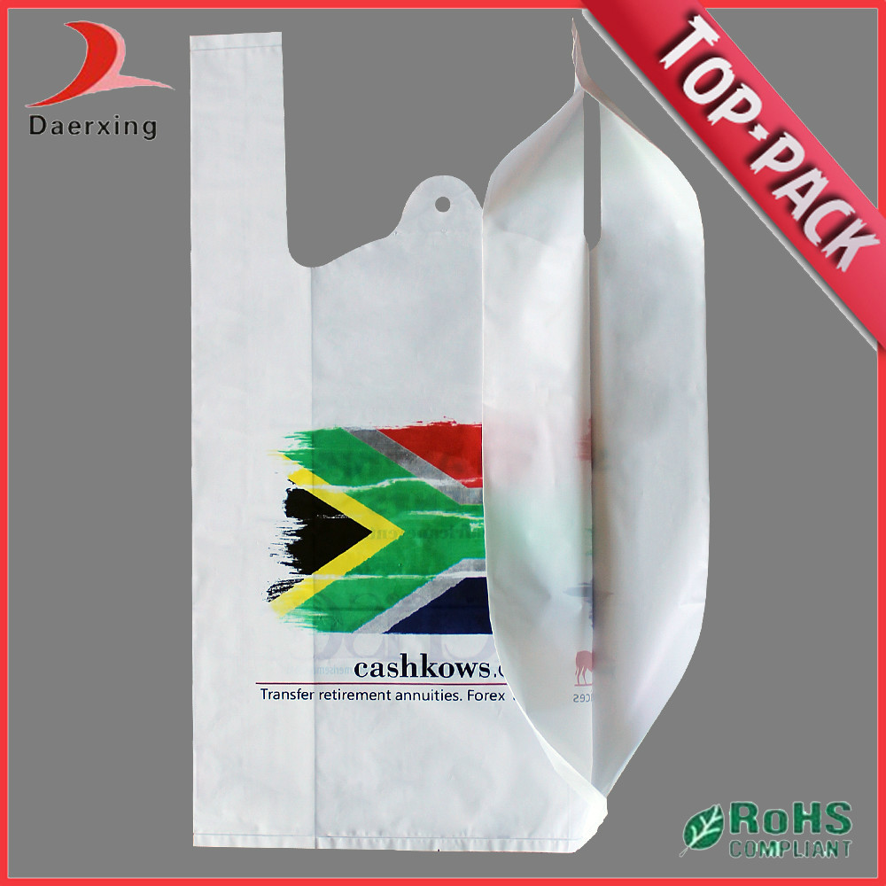 Custom logo large biodegradable t shirt shopping bags for Personalized t shirt bags