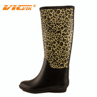 leopard animal print sexy lady long wellies rubber rain boots