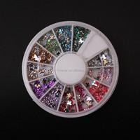 12color bufferfly nail Glitters nail art rhinestone