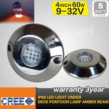 60W IP68 underwater 316 stainless steel led Marine light, 5 colors optional,5years warranty