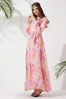 2014 new style floral print chiffon design Islamic abaya wholesale black abaya muslim dress