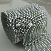 bling bling sew on 24 rows Diamond Rhinestone Ribbon Trim Wrap Roll for garment decoration