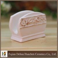 flower design white ceramic napkin holder