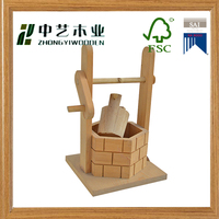 Eco-friendly unfinished handemade small wells wooden toys for education