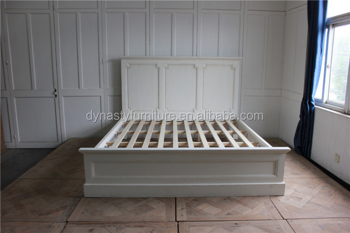 Bedroom European White Painted Antique Style Wooden Bed Designs Indoor