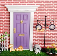 Doll house Wood Fairy Door Painted mini Exterior Door W/ Hardware Open Outward Purple OA011D-1
