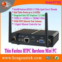 Fanless Barebone Mini PC Thin Client HT720E Intel Pentium N3520 2.17 GHz Quad Core 4 Threadswith USB, WiFi ,VGA