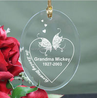 Romantic Butterfly Engraved Glass Wedding Hanging Ornaments For Wedding Party Supply