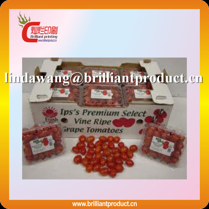 High quality 3 layer A flute cherry tomatoes packaging box/fruit packaging box