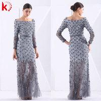 Luxury Round Neck Beading Adult Women Long Sleeve New Evening Dress Fashion