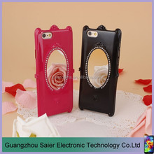 rose princess stone cell phone case with mirror for apple iphone 6