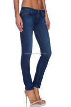 OEM Dark Blue Women and Ladies Denim Jean With Washed Tech