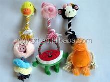 wholesale stuffed animal shape Plush squeaky pet Toy / Plush animal chew rope neck Dog Toy