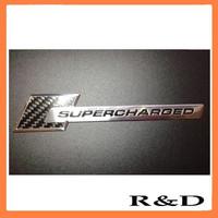 Carbon Fiber Supercharged Aluminum Car Emblem Sticker Badge Decal Logo Nameplte