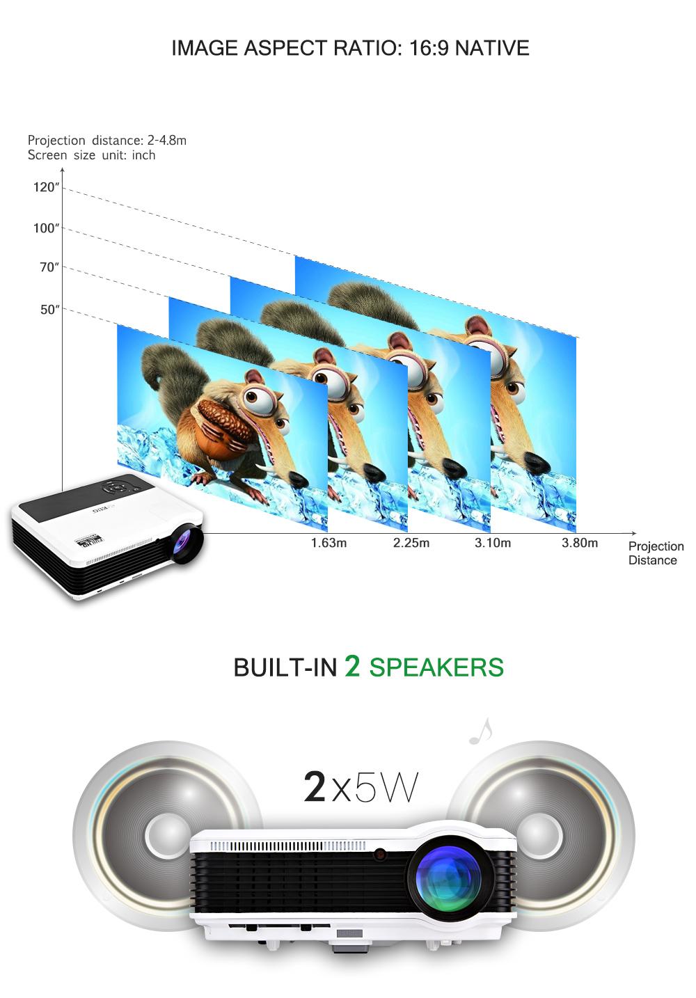 Suporte Android 4.4 3600 Lumens mini led projector projetor sem fio