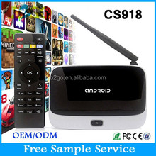 new 2015 set top box bluetooth support 1080p smart tv box quad core cs918 1.8GHz