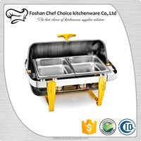 Gloden leg 9L Capacity 201 Stainless Steel Oblong Chafing Dish Buffet and Resturant Food Warmer Suitable For Alcohol or Electric