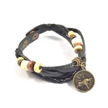 New products 2016 zodiac sign bracelet,mens new fashion leather bracelet jewlery