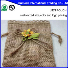 Colorful Small Drawstring Jute Pouch, jute jewelry pouch jute bag wholesale