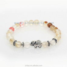 Newest Style Natural Stone Bracelet,Silvery Elephant And Fox And Tortoise Bracelet,Hyaline Carnelian Round Beads Charm Bracelet